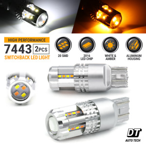 Syneticusa 7443 Led Turn Signal Switchback Drl Parking Light Bulbs White Amber