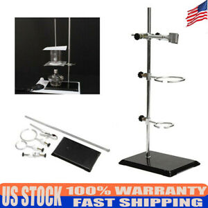 Lab Stand Bracket 50cm Retort Support Platform Clamp Chemistry Holder Tool 2ring