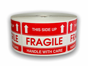 2x3 Fragile this Side Up Shipping Mailing Warning Stickers 20 Rls 1000 Labels