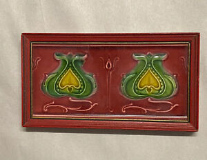 Original Antique Art Nouveau Majolica Tile Twin Tulips Henry Richards Framed