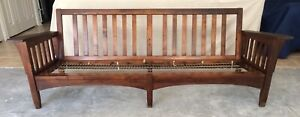 Vtg Mission Arts Crafts Morris Stickley Style Spindle Settle Sofa Couch 84 L