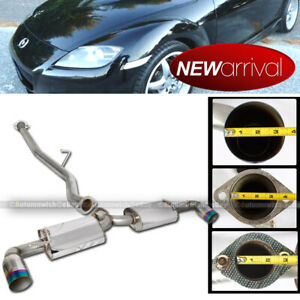 For 03 11 Mazda Rx8 Stainless Steel Green Burnt Tip Catback Exhaust System