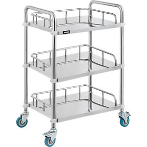 Medical Trolley Mobile Rolling Serving Cart W 3 Tiers Stainless Brake Wheels