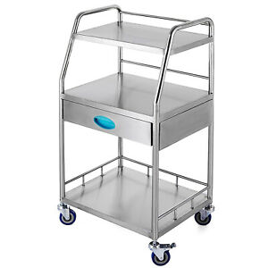 Medical Trolley Mobile Rolling Serving Cart W 3 Tiers 1 Drawer Universal Wheels