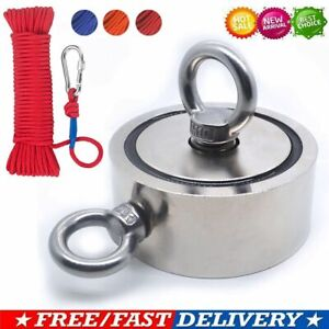Fishing Magnet Kit Upto 1300 Lbs Pull Force Strong Neodymium Rope Carabiner