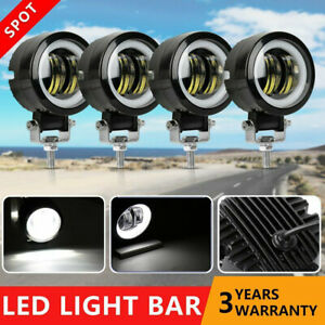 4x 3 Round Led Work Lights Driving Fog Spot Pods White Drl Suv Atv 4wd Offroad