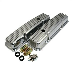 Aluminum Finned Short Style Valve Covers Small Block Chevy Retro Sb Sbc 327 350
