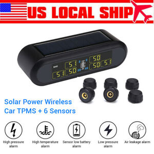 Tpms Tire Pressure Monitor System 6 Sensors Solar Wireless Lcd For Rv Trailer