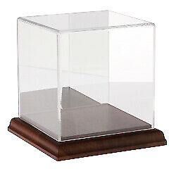 Plymor Acrylic Display Case With Hardwood Base mirror Back 4 X 4 X 4