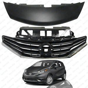 For 2014 2016 Nissan Versa Note Front Upper Bumper Grille Cover Assembly 2pc