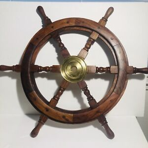 Wooden 24 Nautical Ship Steering Wheel Pirate Decor Wood Brass Wall Boat