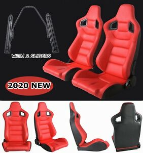 New Universal Racing Seats Pair Reclinable Red Leather Bucket Seats W 2 Sliders