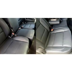 For 2014 2015 2016 2017 2018 Silverado Crew Cab Lt Black Leather Seat Covers