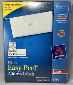 New Avery 5160 Easy Peel Address Labels white 1 X 2 5 8 3000 Labels Laser