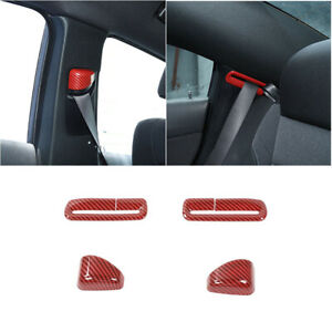 4x Red Carbon Fiber Seat Safety Belt Button Cover Trim For Dodge Charger 2015
