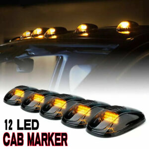 5 X 12 Led Smoked Black Cab Roof Top Marker Running Amber Light For Dodge Ram