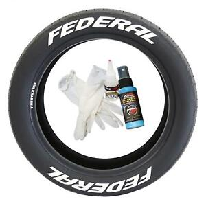 Tire Lettering Pre curved Permanent Raised Letters Federal Logo White Rubber 1 2
