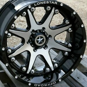 20 Black Brush Face Lonestar Bandit Wheels 20x10 6x5 5 25 Toyota Tacoma Tundra