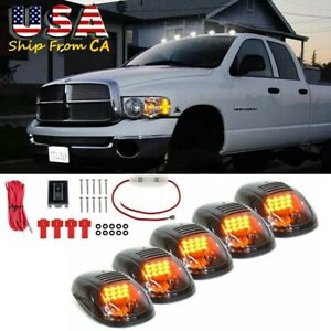 5x Smoked Lens Rooftop Cab Running Light Amber Led 6000k For Dodge Ram 2500 3500