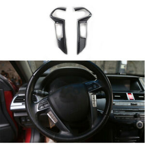 2x Abs Carbon Fiber Steering Wheel Cover Trim For Honda Accord 2008 2012