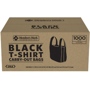 1000 T shirt Carry Out Plastic Bags Recyclable Retail Grocery Shopping Black