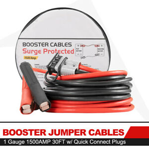 1500amp 30ft 1 Gauge Booster Jumper Cables W Quick Connect Plugs For Truck Suv