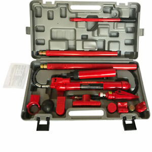 10 Ton Power Hydraulic Jack Body Frame Repair Kit Auto Shop Tool Lift Ram Portab