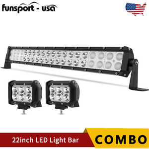 20 22inch Led Light Bar Spot Flood Combo 2x 4 Pods Offroad For Jeep Truck Suv
