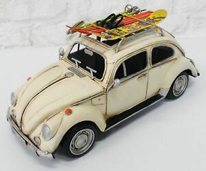 1957 White Vw Beetle With Skiing Board Home Office Decoration Decor