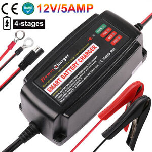 12v 5a Smart Battery Charger Trickle Maintainer For Car Boat Lawn Mower Marine