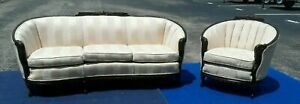 Vtg French Style Fabric Luxury Sofa Chair Living Room Set Hand Carved