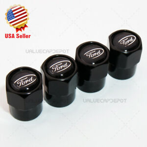 Hex For Black Ford Logo Emblem Car Wheels Tire Air Valve Caps Stem Dust Cover