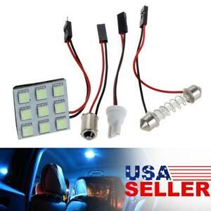 4x Universal Ice Blue 5050 9 led Panel Interior Lights Car Interior Replacement