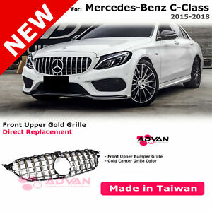 Upper Front Bumper Grille Gt Style For 15 18 Benz C Class W205 With Gold Trim