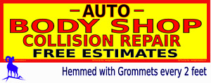 Very Large Auto Body Shop Collision Repair Yellow Reinforced Vinyl Banner