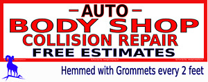 Very Large Auto Body Shop Collision Repair White Reinforced Vinyl Banner