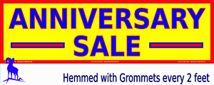Very Large Anniversary Sale Yellow Nylon Reinforced Vinyl Banner Many Sizes