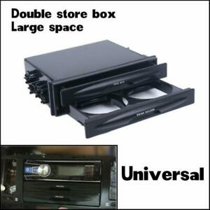 Double Double Din Dash Radio Installation Pocket Cup Holder Storage Box For Car