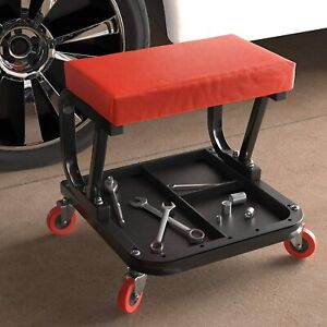 Mechanics Creeper Stool Car Repair Shop Garage Seat Rolling Lawn Mower Red Soft