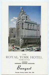 Royal York Hotel Canadian Independent Telephone Banquet Menu Toronto Ont. 1956