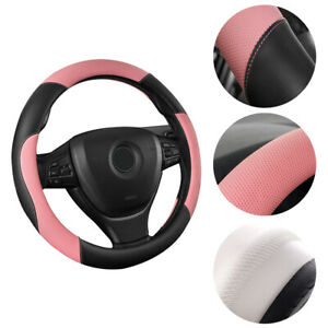 Auto Car Steering Wheel Cover For Women Girl Leather Anti slip Breathable Pink