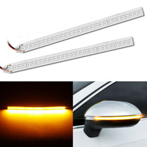 2pcs Car Rearview Mirror Led Strip Lamp Flowing Turn Signal Side Light Amber 12v