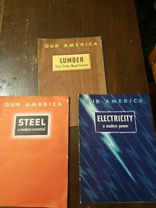 1940 Coca Cola Our America Student Booklets Set of 3 Steel  Lumber  Electricity
