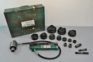 Greenlee 7310 11 ton Hydraulic Knockout Punch Driver Set For Thru 4 Conduit