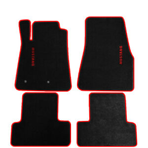 For 05 09 Ford Mustang Black Nylon Floor Mats Carpets W Red Trim Red Mustang