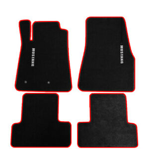 For 05 09 Ford Mustang Black Nylon Floor Mats Carpets W Red Trim Whit Mustang