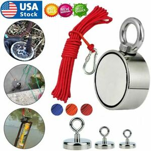Upto 1300 Lbs Fishing Magnet Kit Pull Force Strong Neodymium Rope Carabiner