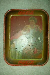 1936 Coca-Cola Tray by American Art Works - Glamour Girl in White Dress