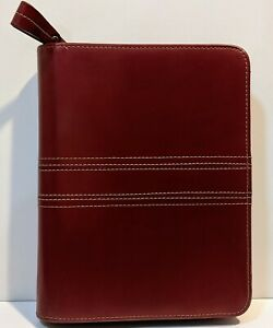 1 Rings Red Genuine Leather Franklin Covey Planner Binder Compact 8 75 X 7