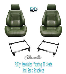 1971 72 Chevelle Touring Ii Front Bucket Seats Brackets With Rear Seat Cover
